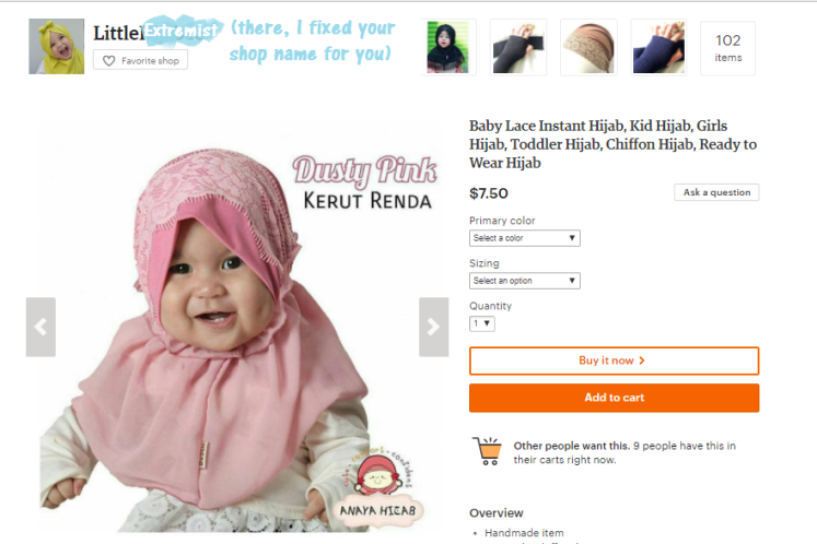 Hijab for babies Etsy Items 2